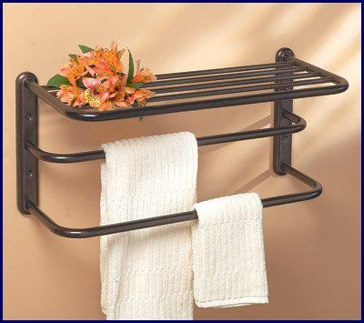 oil rubbed bronze hotel towel shelf or train rack with double bar