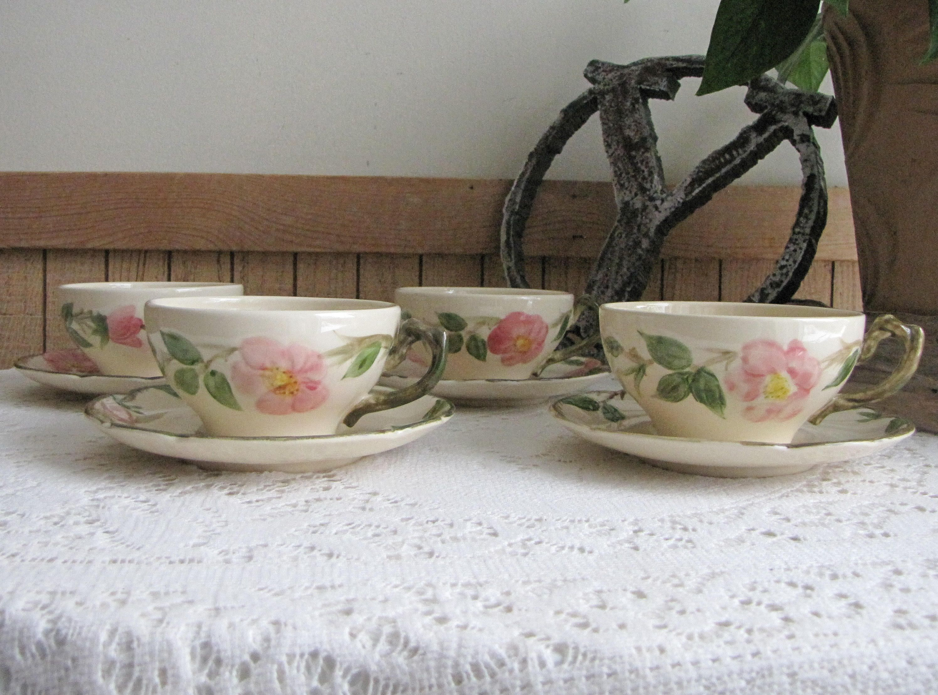 Franciscan Desert Rose Cups and Saucers Vintage Dinnerware and Replacements Set of Four (4) & Franciscan Desert Rose Cups and Saucers Vintage Dinnerware and ...