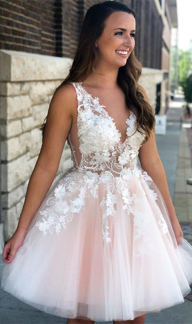 Aline vneck aboveknee pink homecoming prom dress with appliques