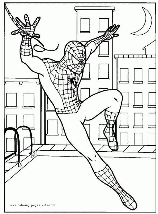 Spiderman Landing On Top Of Building Coloring Page Superheroes - fresh coloring pages printable avengers