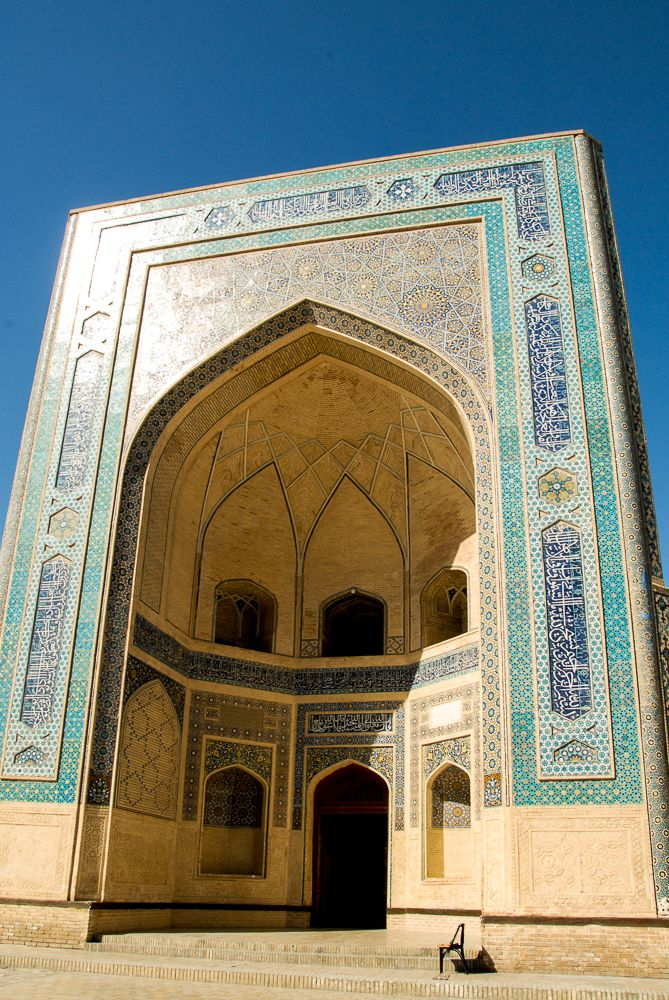 Iwan Is A Beautiful Symbol Of Islamic Architecture In Bukhara Iwan Is An Art Of Decoration With Patterned Tiles Caligraphy Central Asia Asia Tours Uzbekistan