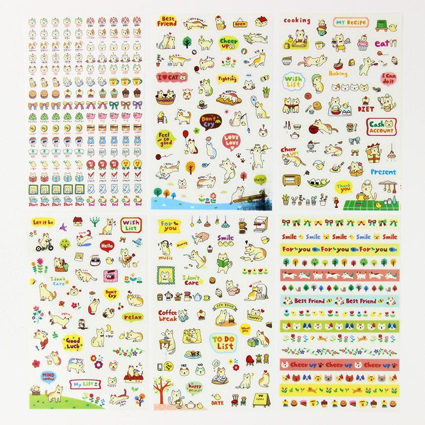 6 Pcs//Set random Cartoon Cat Tattoo Sticker Scrapbooking Diary Sticker Decor PDH