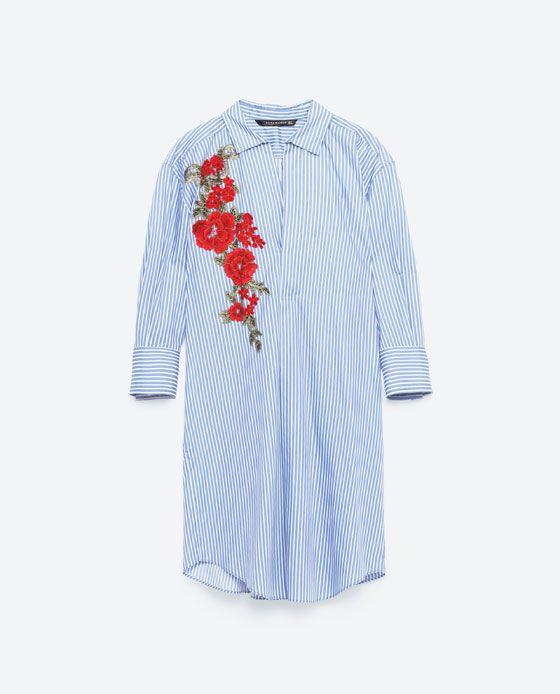 Image 8 Of Shirt Style Dress With Patch From Zara Dresses Shirt Dress Zara