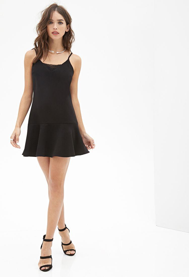 Flounce Cami Dress Black Lace Mini Dress Mini Black Dress Cami Dress [ 1101 x 750 Pixel ]
