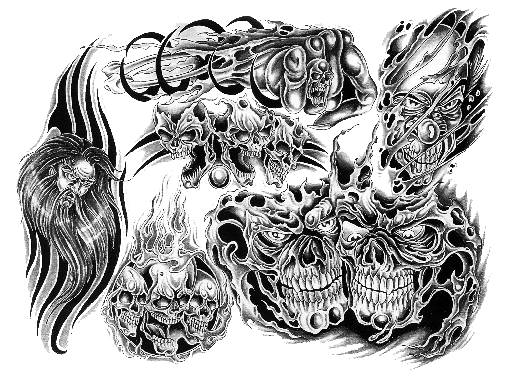 Black And White Skull Tattoo Designs tattoo with