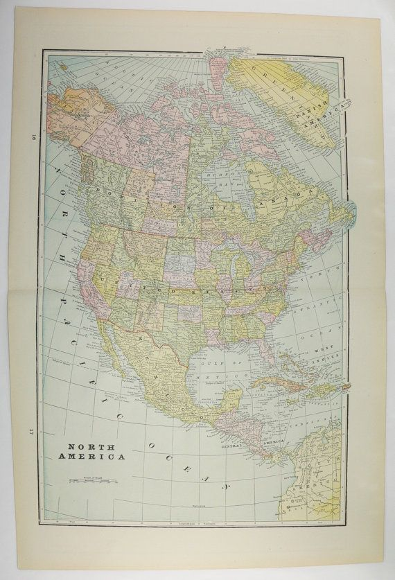 1894 Vintage Map of North America United States Map Mexico