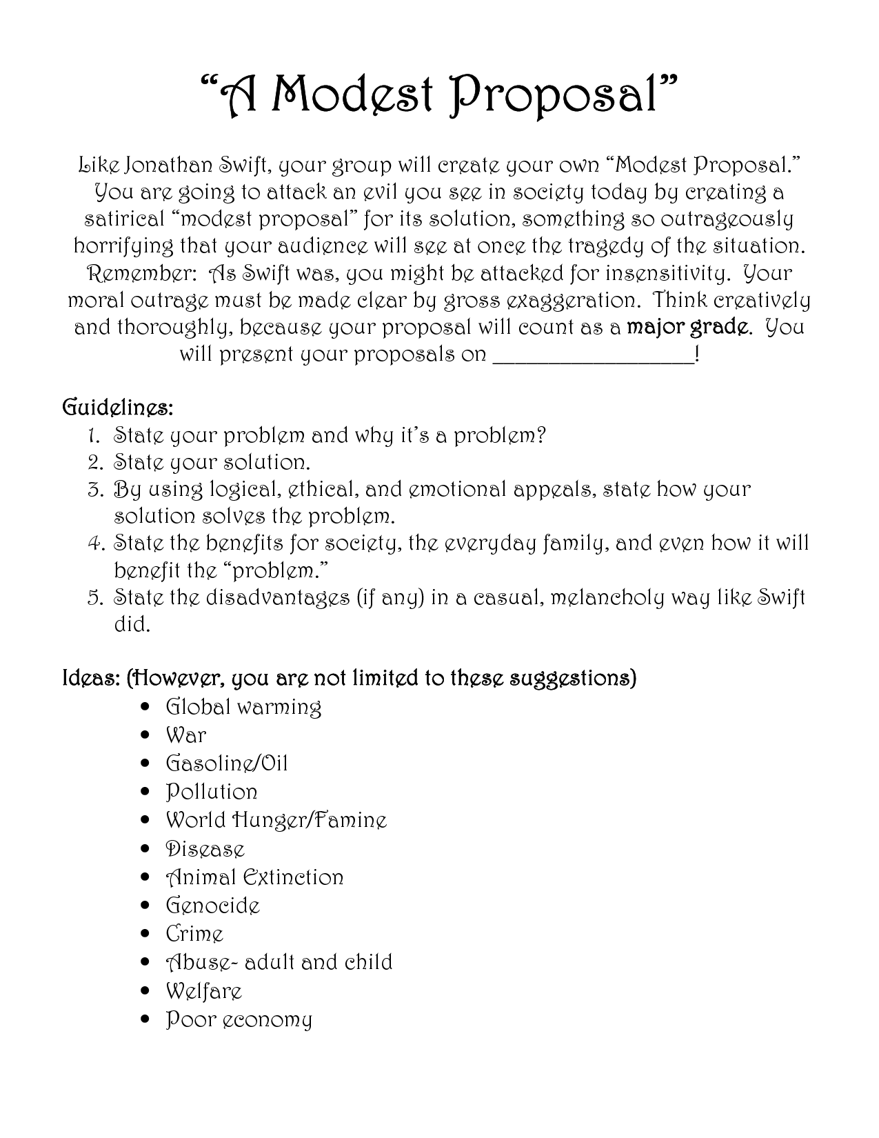 Modest Proposal Unit 3 Satire Pinterest Modest Proposal