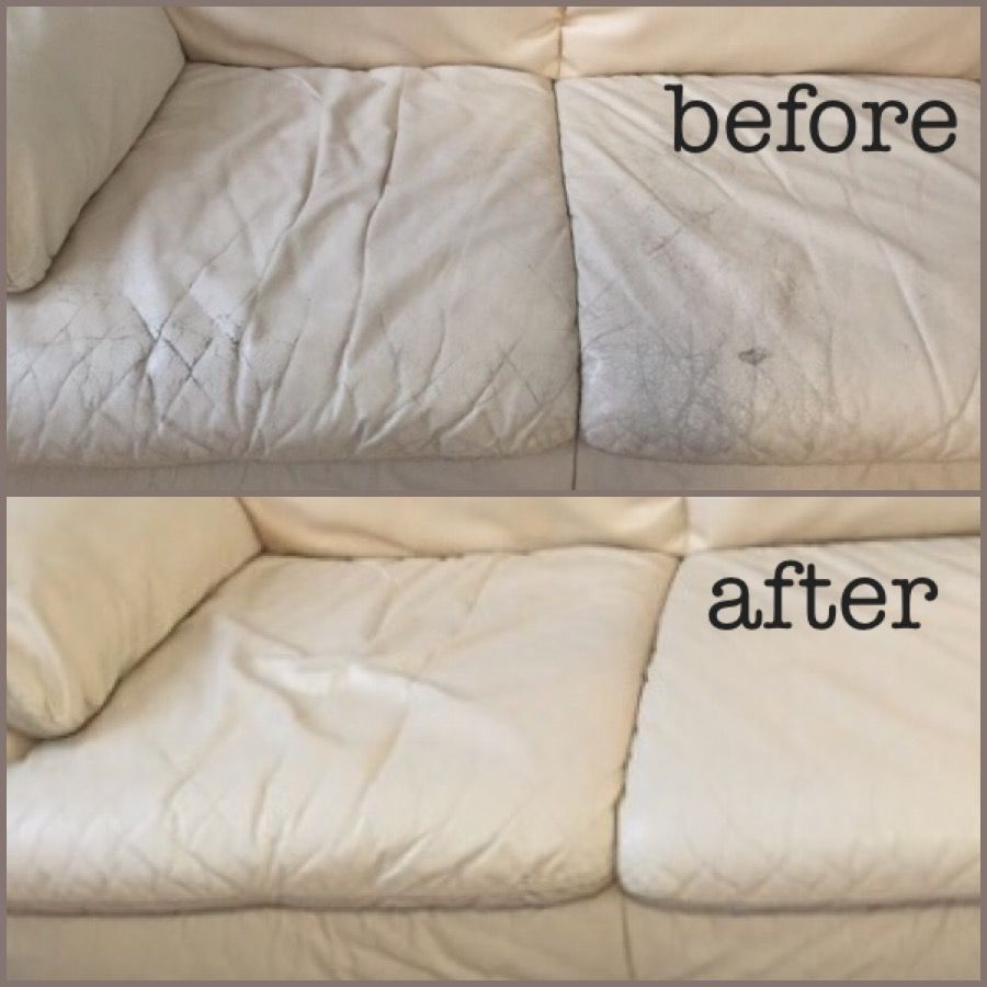 Susan Used Our Beige Leather Dye To Restore Her Couch She