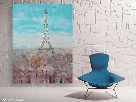 Large painting of Eiffel Tower in Paris 48x64 by KsaveraART