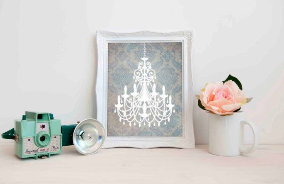 Damask Blue Teal and Grey Chandelier Shabby Chic by 1thirteen
