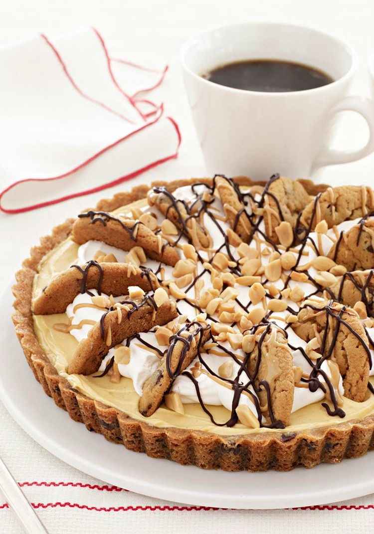Easy Peanut Butter-Chocolate Chip Pie — Chocolate and peanut butter are together again, doing what they do best in an easy cream pie with a chocolate chip cookie crust. Bonus: This dessert recipe only takes 20 minutes to prepare.