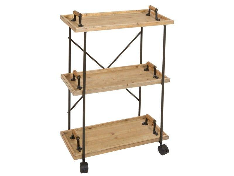 Carrito camarera r stico de madera y metal mesas - Carrito camarera ...