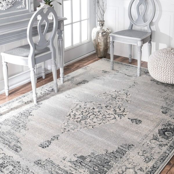 Nuloom Traditional Abstract Vintage Light Grey Rug 9 X 12