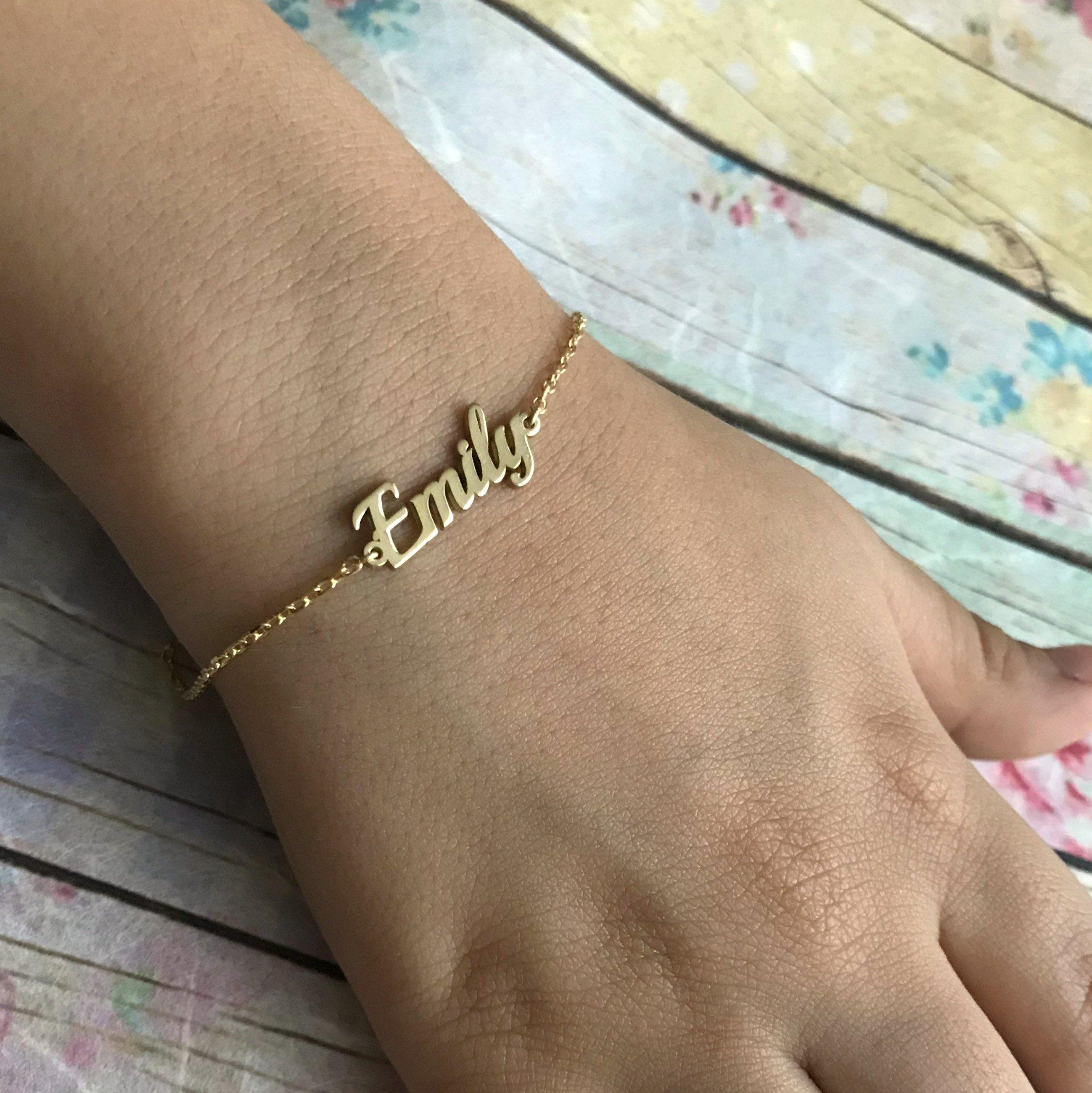 14k Solid Gold Child Bracelet Personalized Name Bracelet Kids Name Bracelet Custom Name Newborn Bracelet Gif Name Bracelet Name Jewelry Paw Jewelry