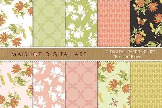 Digital Paper Pack Passion Flower Digital Download Etsy Digital Paper Digital Paper Pack Passion Flower