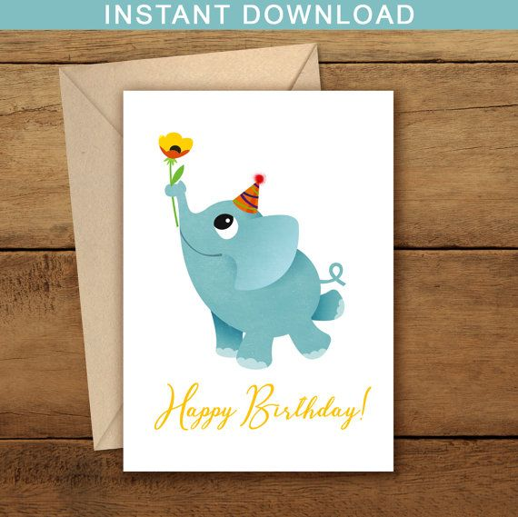 Printable Blue Elephant Happy Birthday Card Baby Greeting Free