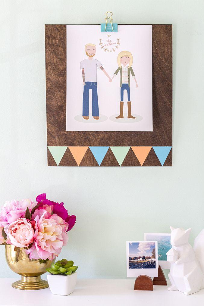 DIY Clipboard Wall Frame // Yellow Heart Art | Clipboards, Heart art ...