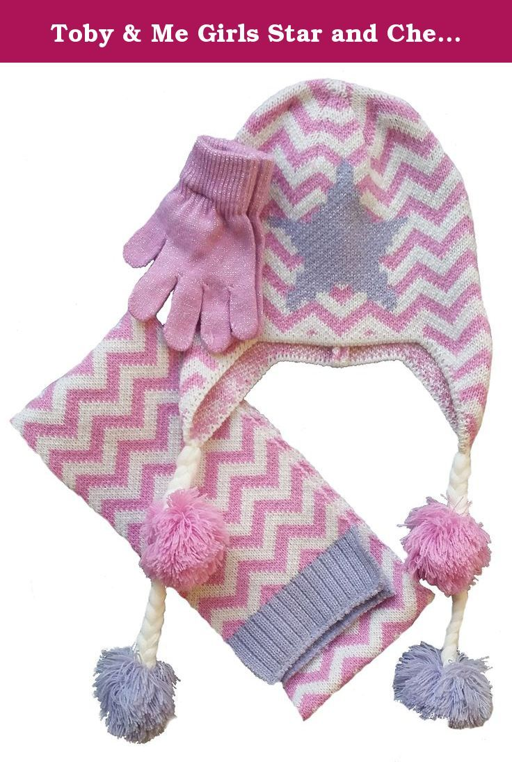 a8b7ce917e3 Toby   Me Girls Star and Chevron Scarf Hat Glove Set 7-14 Orchid Cream.  Pattern play 3 piece set includes pull on hat with pop art star