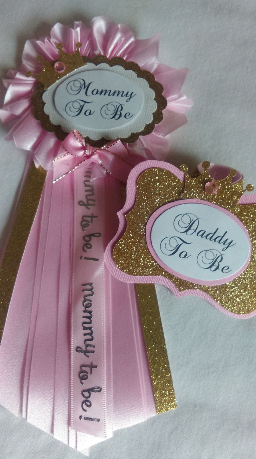 Baby Shower Pins For Mom And Dad : shower, Mommy, Daddy, Pink,, Gold,, Princess,, Ribbon, Flower, Corsage, Sho…, Shower, Themes,, Princess