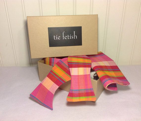 Hot pink stripes and checks bow tie and pocket square by TieFetish, $26.50