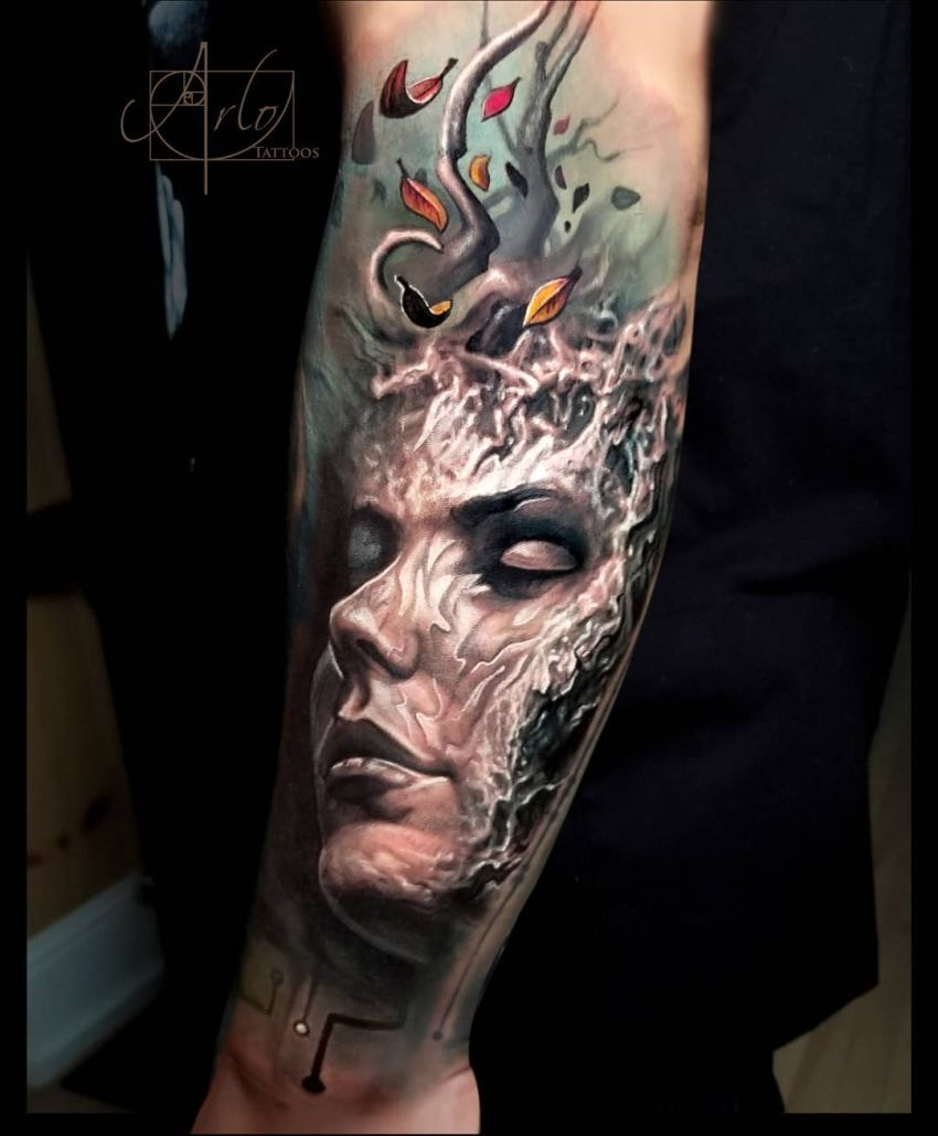 Skull With Jaw Dropped: Jaw-Dropping Face Morph Tattoos By Arlo DiCristina