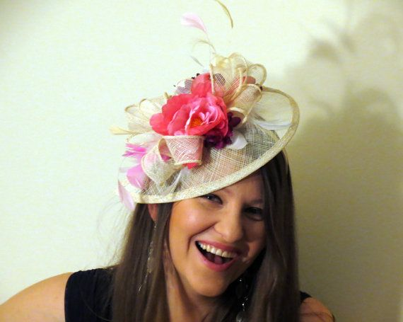 Cream Sinamay Fascinator With Pink And Wine Flowers Ivory Wedding Hat