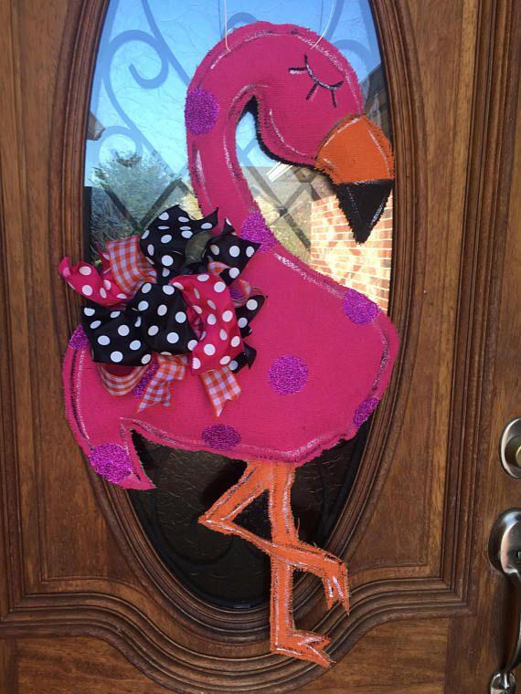 Flamingo Wooden Door Hanger