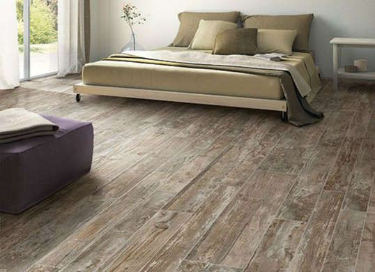 Looks like reclaimed barn wood flooring but it's actually textured tile! - Looks Like Reclaimed Barn Wood Flooring But It's Actually Textured