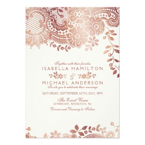 Faux Rose Gold Elegant Vintage Lace Wedding Invitation Zazzle Com Lace Wedding Invitations Gold Wedding Invitations Rose Gold Wedding Invitations