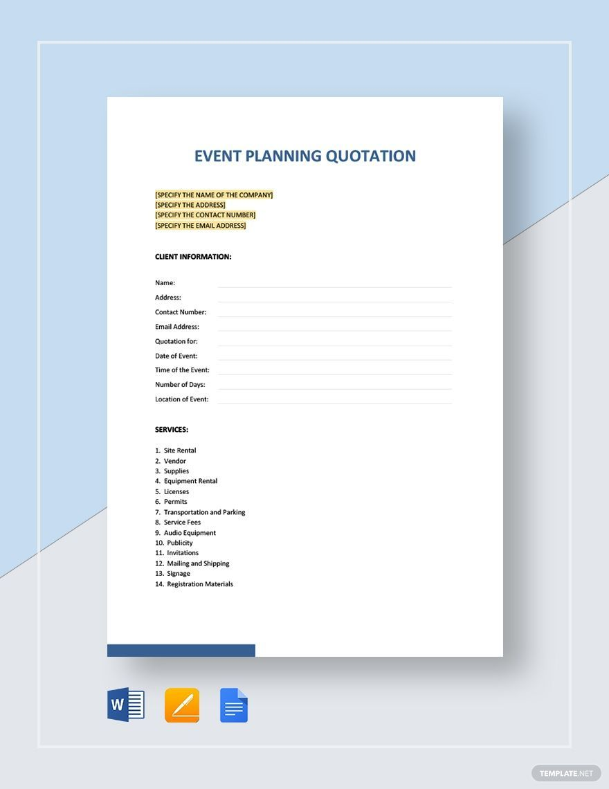 Event Planning Quotation Template Event Planning Quotation Template Quotations Quotation Template Word Event Planning
