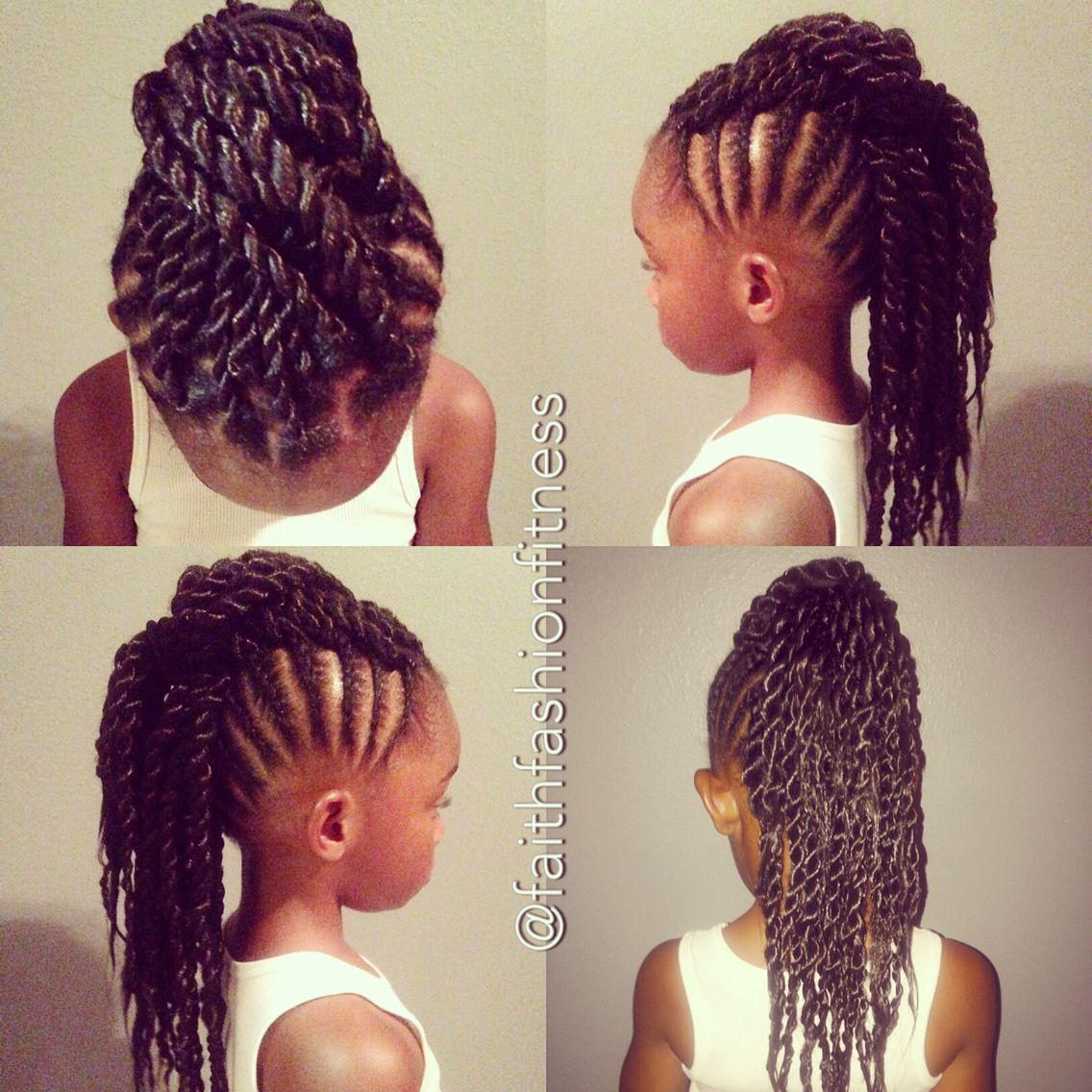 braided mohawk with senglenese twists. natural hair kids natural