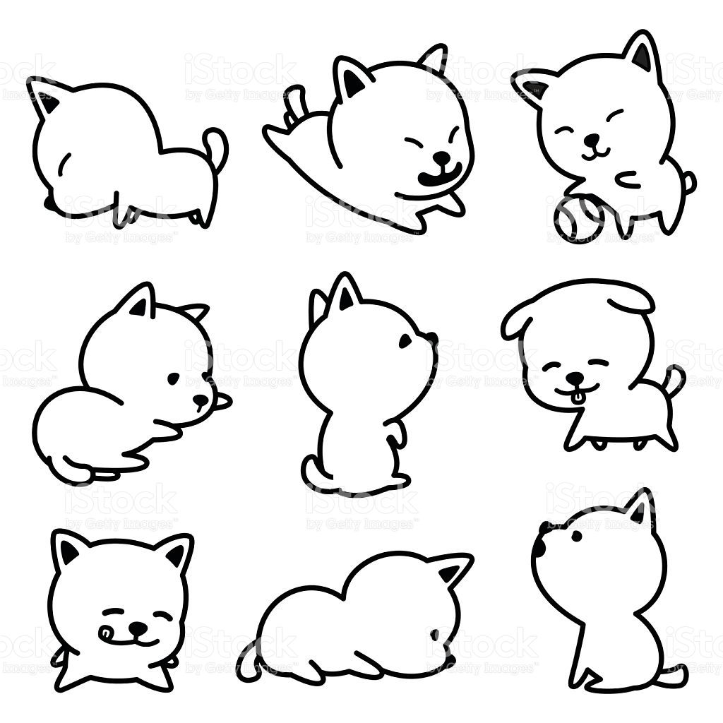 Puppy Dogs Vector Illustrations Black And White