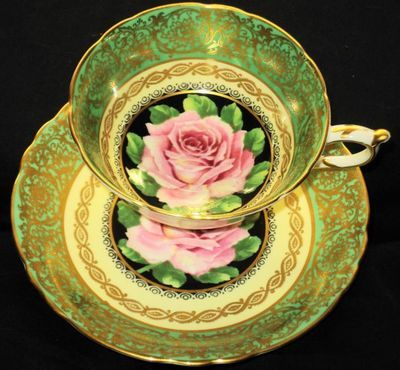 4:00 Tea...Paragon...Large Pink Rose with Black, Green and Gold Teacup and Saucer