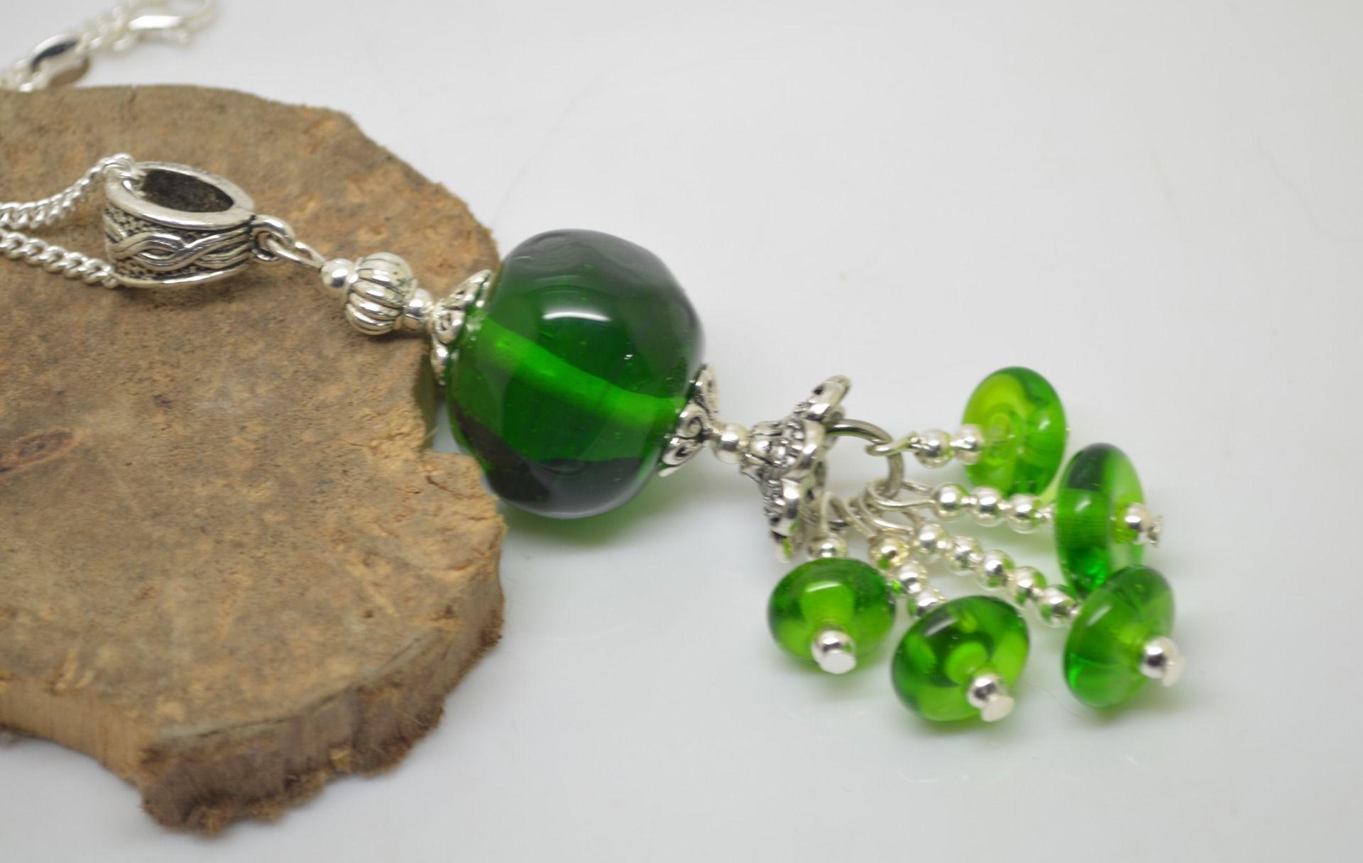 collier 60 cm perles verre filé au chalumeau vert chaine argent 925 collier rose : Collier par liloo-creations