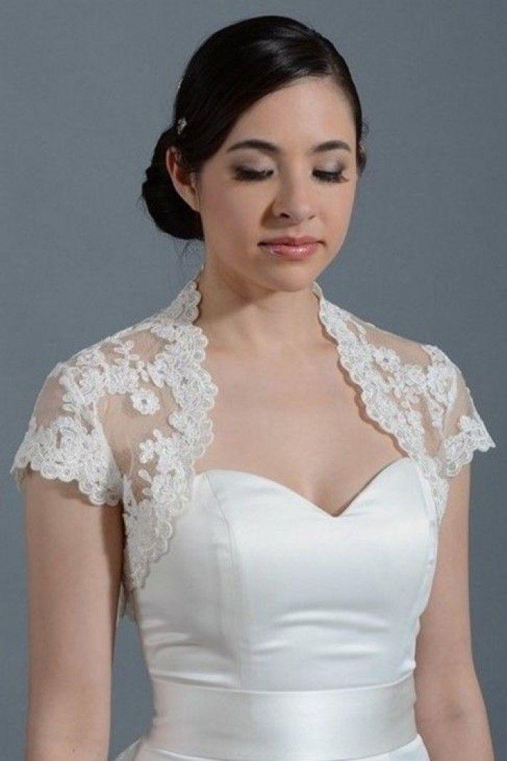 chaqueta para vestidos de novias con mangas cortas de encaje