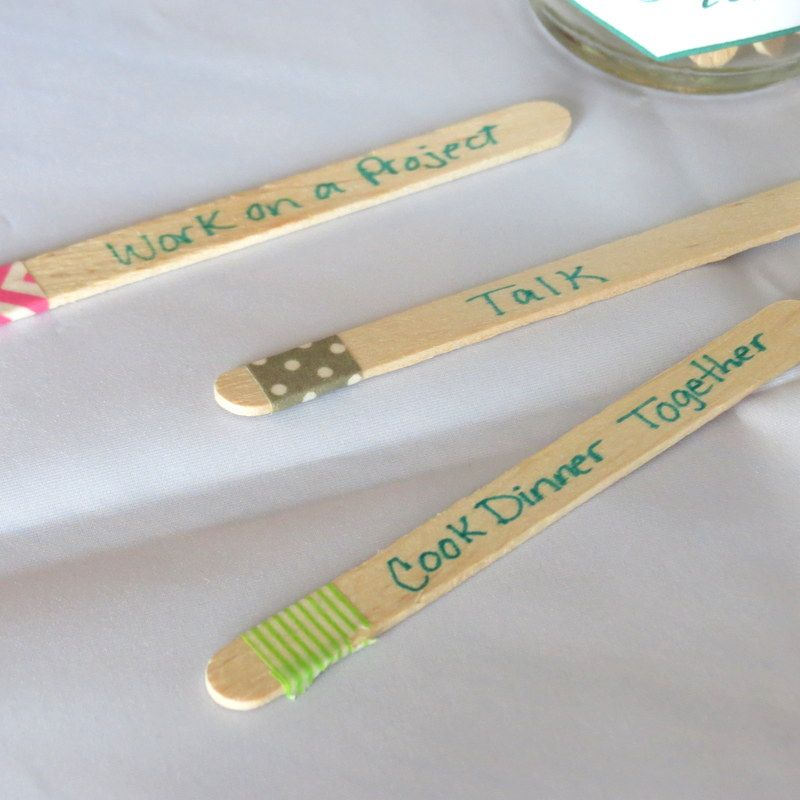 Date night ideas with tape at the end to separate in to catagories ...