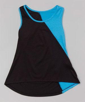 Another great find on #zulily! Cheryl's Kids Creations Black & Turquoise Color Block Hi-Low Tank by Cheryl's Kids Creations #zulilyfinds