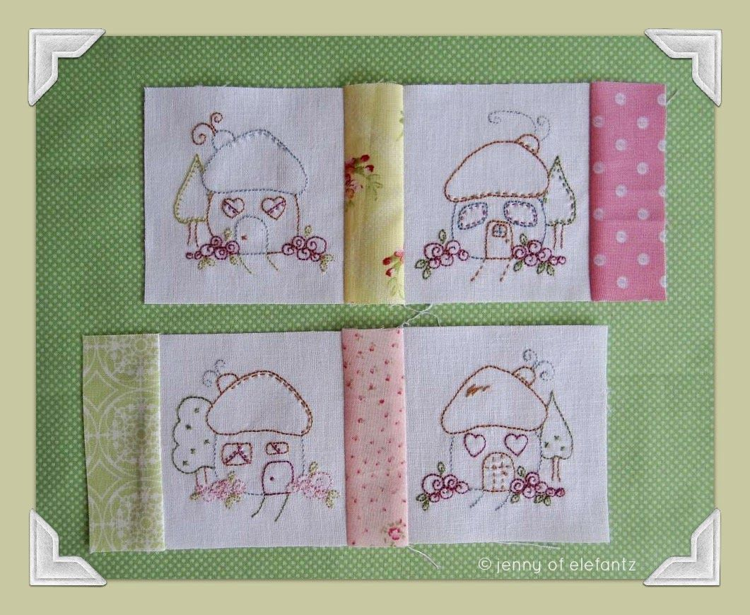 "A quad set of sweet little house stitcheries from my ""Shabby Roses Home"" BOM."