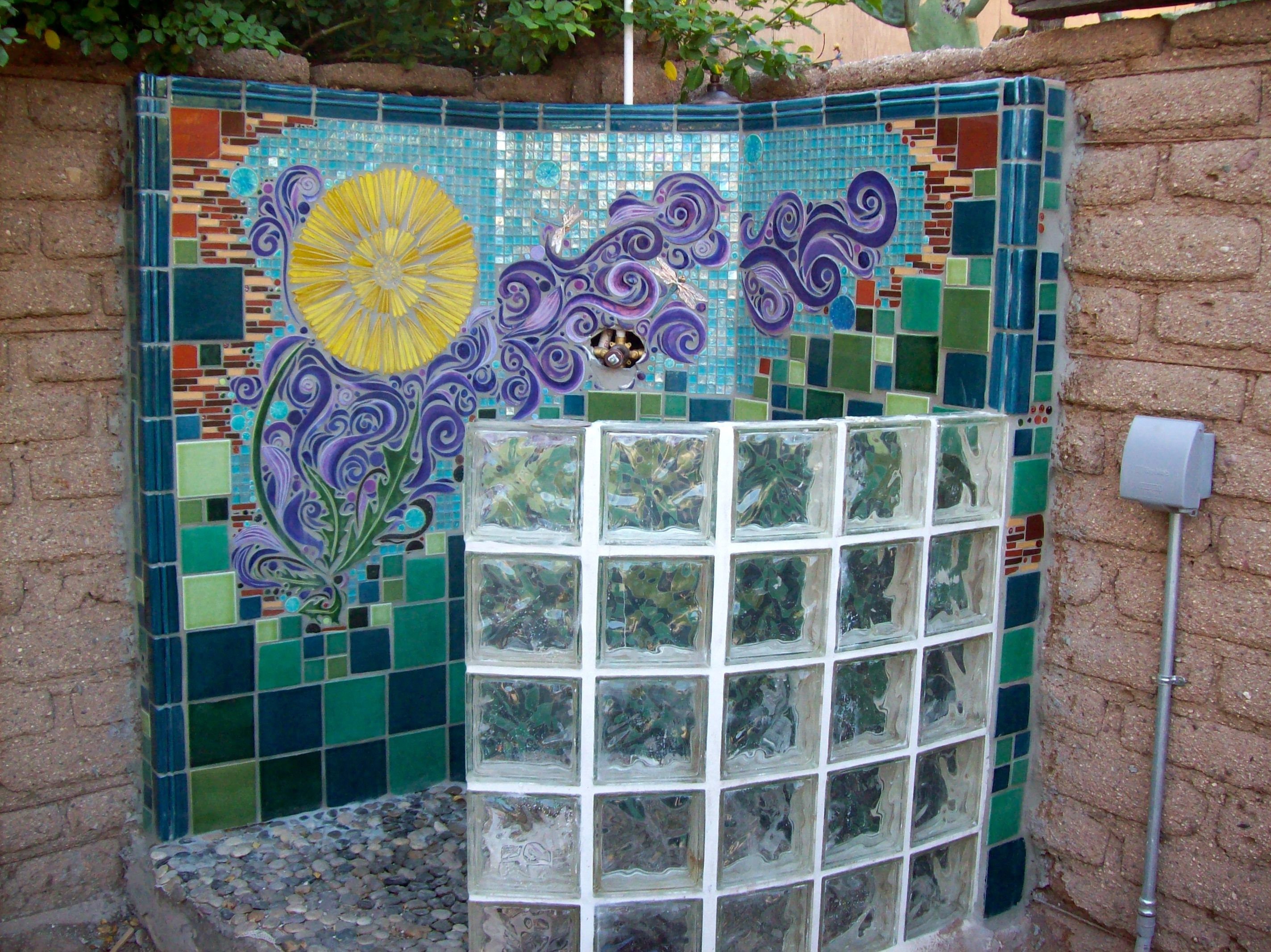Custom designed mosaic wall for an outdoor shower for Custom mosaic tile mural