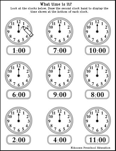 Kindergarten Clock Worksheets  Kinder    Hickory