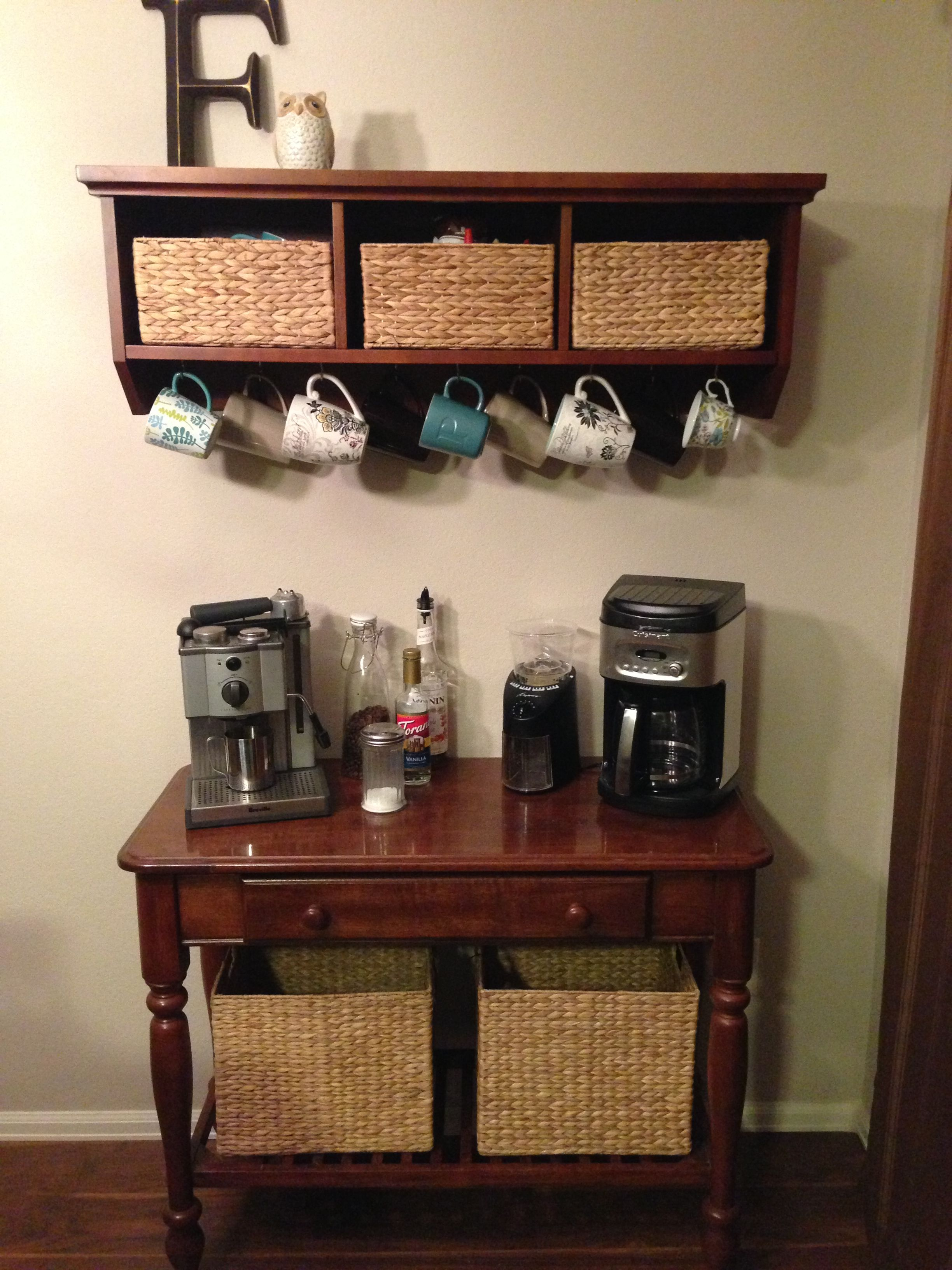 Hang Mugs Under Cabinet In Coffee Nook Area