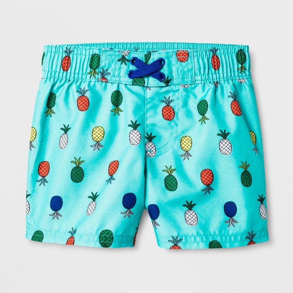 588bc25c85 Baby Boys' Pineapple Swim Trunks - Cat & Jack Aqua 18M, Blue | Products