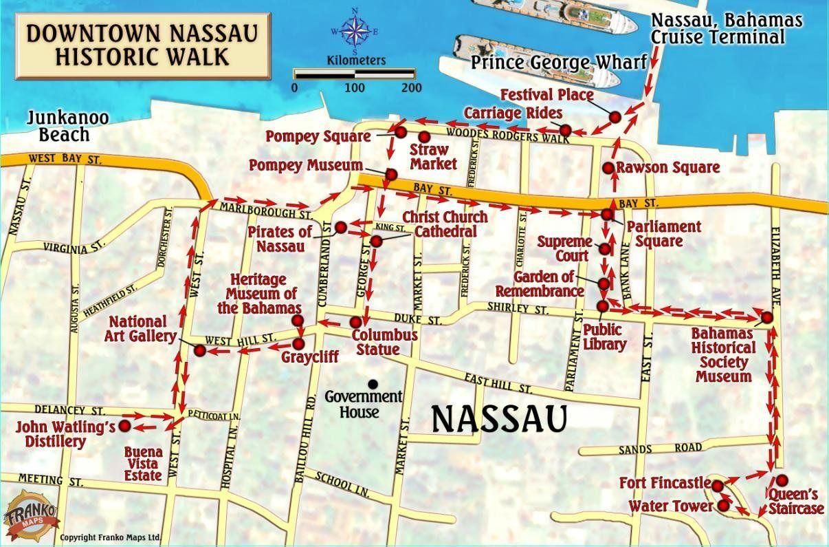 Nassau Cruise Port Map Nassau Historic Walking Tour & New Providence Island Bahamas Maps  Nassau Cruise Port Map