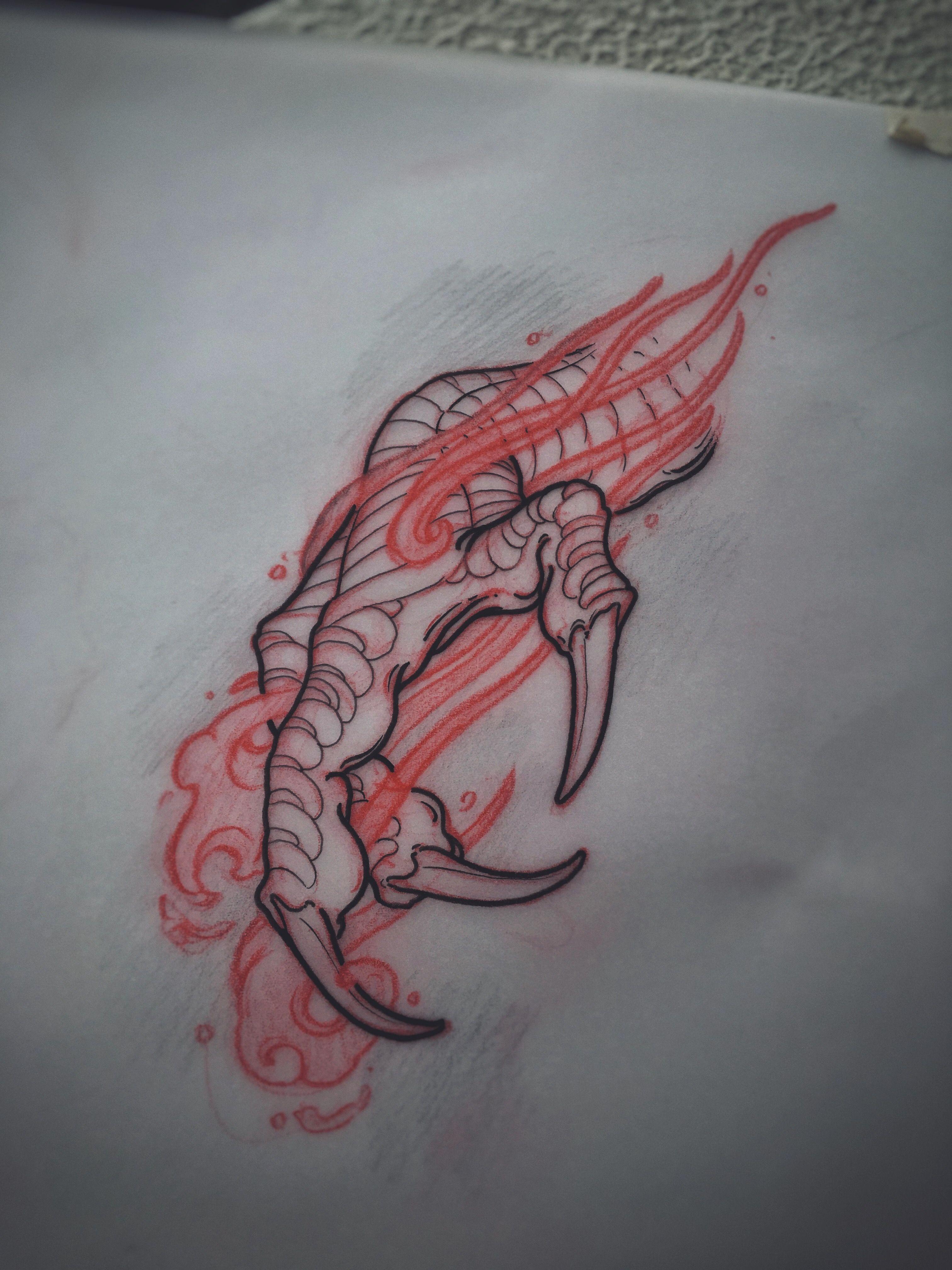 Dragon claw sketch by Akos ( Perth, Australia) -   21 dragon tattoo sketch ideas
