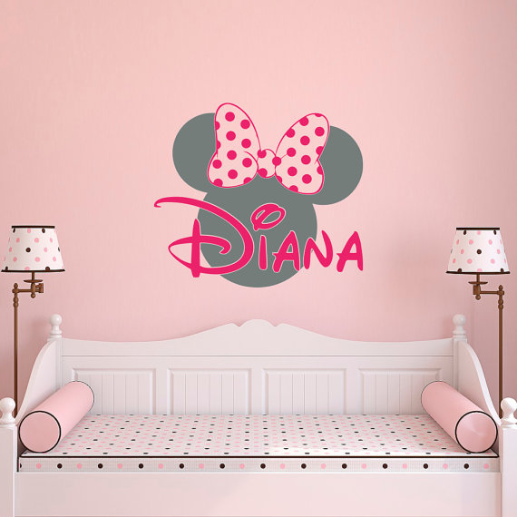 Girl Name Wall Decal Minnie Mouse Wall Decals Wall by PonyDecal  sc 1 st  Pinterest & Girl Name Wall Decal- Minnie Mouse Wall Decals- Wall Decals Nursery ...