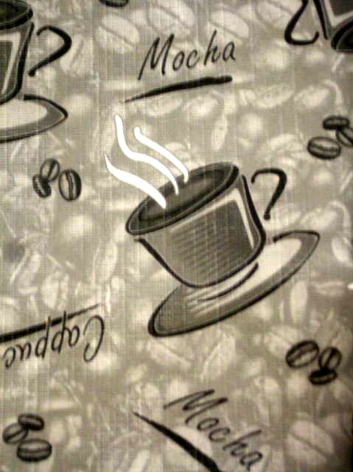 This Coffee Themed Tablecloth Features The Words Cappuccino, Mocha, Cafe  And Coffee Beans On A Gray Background. $14.95