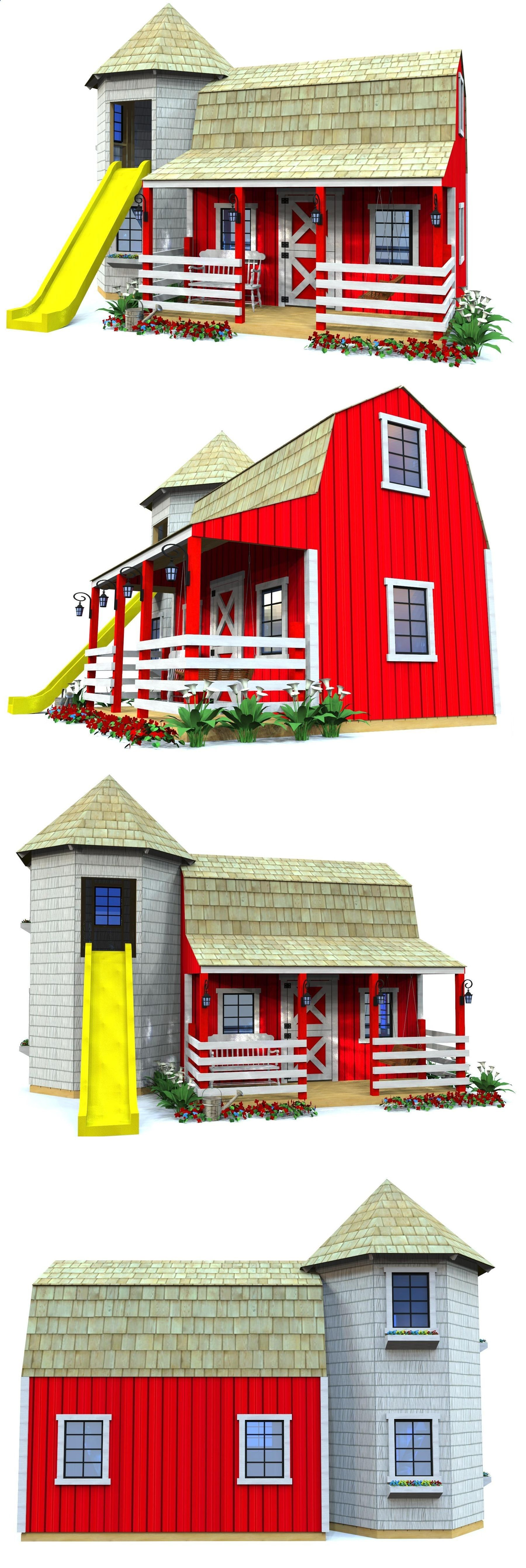 The Red Barn And Silo Playhouse Features Two Levels, Along
