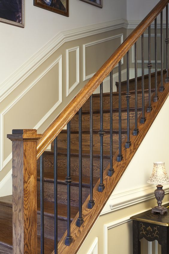 +rustic stairway bannisters | ... iron wood railing irons ...