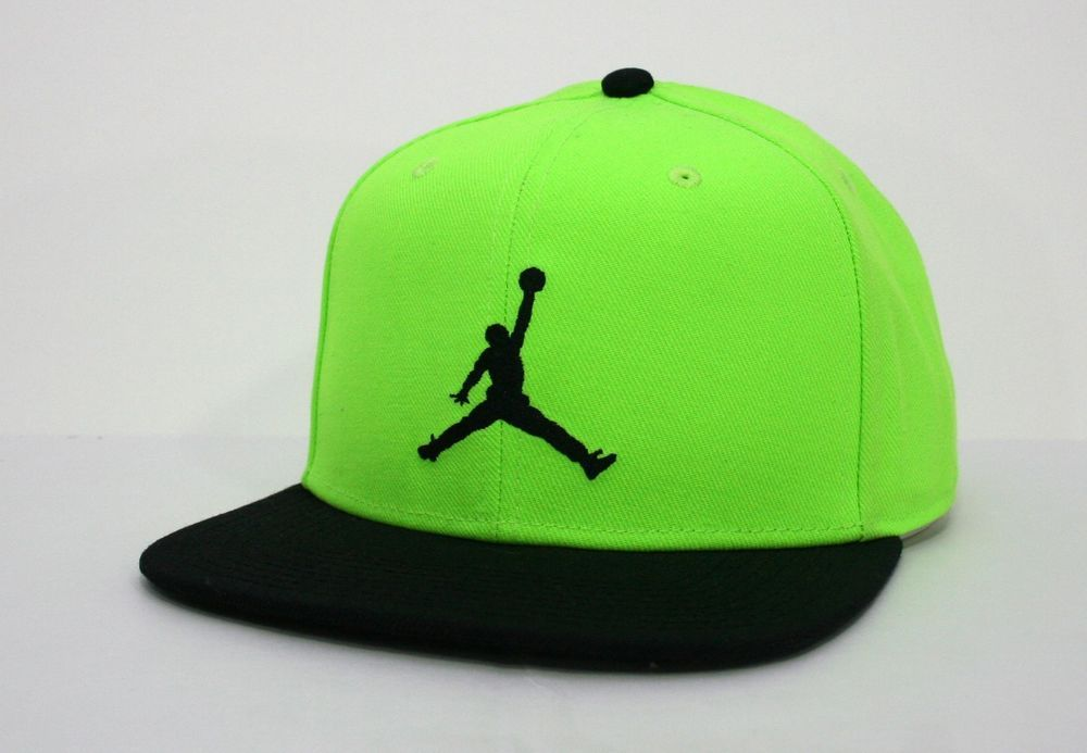 a05b3be598a Air Jordan Nike  True  Jumpman Mens Black Neon Snapback Hat