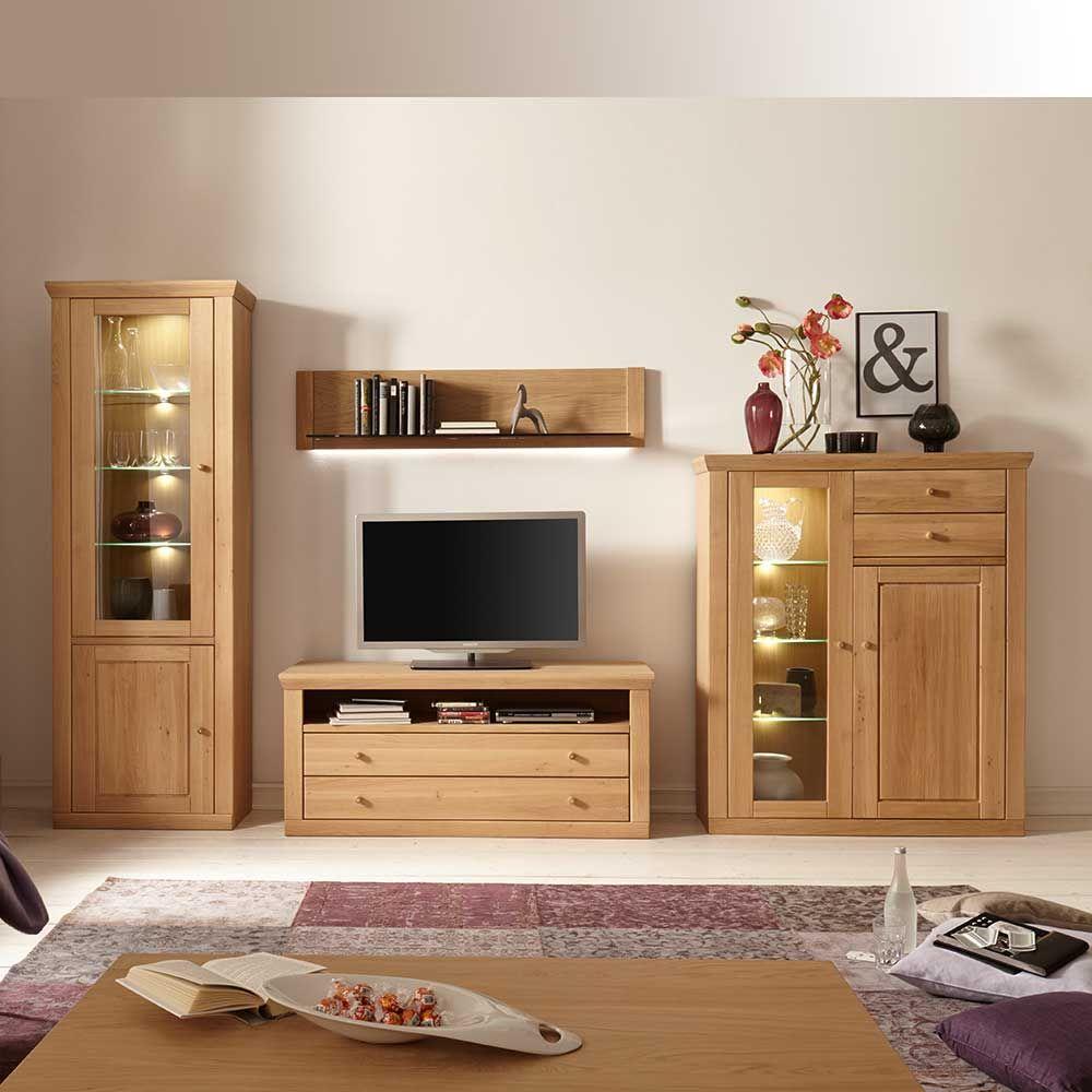 wohnzimmer anbauwand aus eiche bianco geölt beleuchtung (4-teilig, Wohnzimmer dekoo